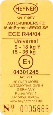 Маркировка ECE R44/04 автокресел Heyner