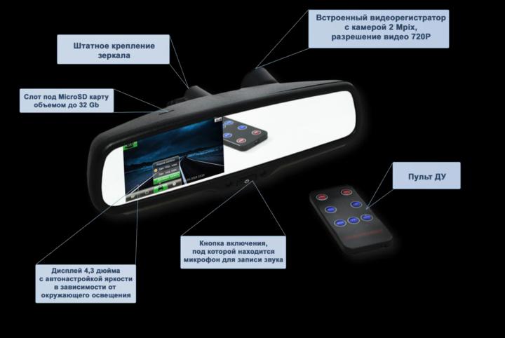 Зеркало с видеорегистратором BGT DVR Mirror T1 — Новинка!