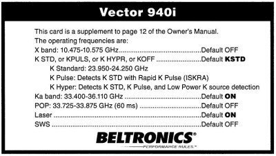 Beltronics Vector 940 International
