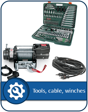 Tools, cable, winches