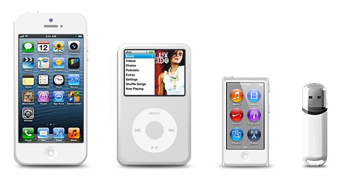 Подключение iPhone, iPod и других внешних устройств