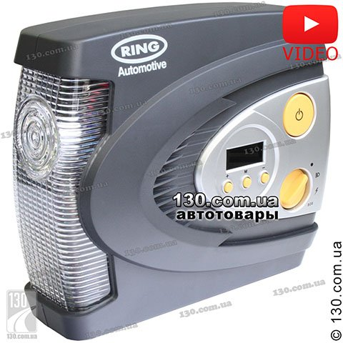 Tire inflator with auto-stop Ring RAC630 with digital pressure gauge and signal LED lamp